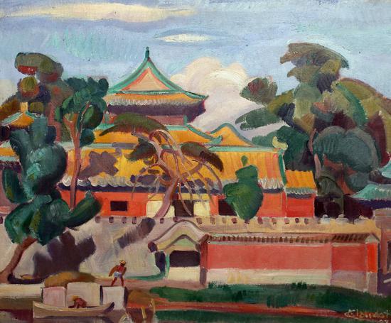 14安德烈克罗多 紫禁城  布面油彩57x70cm 1928年